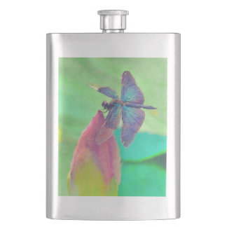 Iridescent Blue Dragonfly on Waterlily Hip Flask