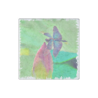 Iridescent Blue Dragonfly on Waterlily Stone Magnet