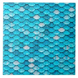 Iridescent Blue Glitter Shiny Mermaid Fish Scales Tile