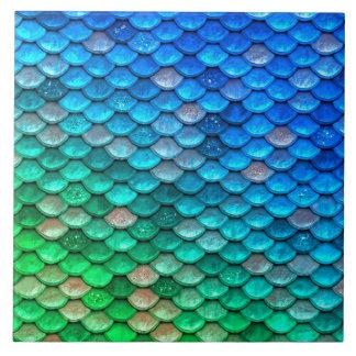 Iridescent Blue Green Glitter Mermaid Fish Scales Tile