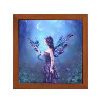 Iridescent Fairy & Dragon Art Desk Organizer