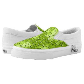 Iridescent Green Bricks Slip-On Shoes