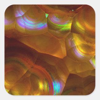 Iridescent orange fire opal square sticker