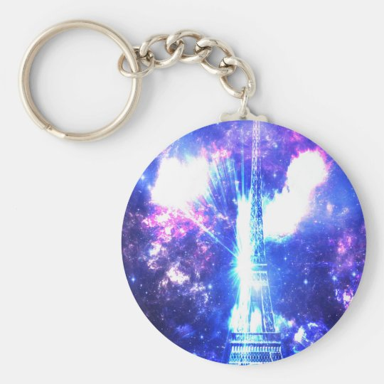 Iridescent​ ​Parisian​ ​Sky Basic Round Button Key Ring