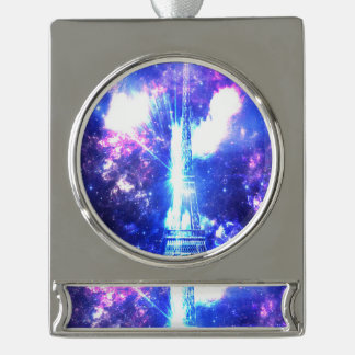 Iridescent Parisian Sky Silver Plated Banner Ornament