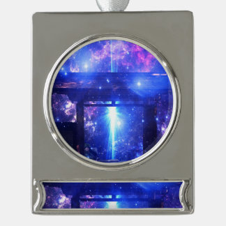 Iridescent Pathway to Anywhere Silver Plated Banner Ornament