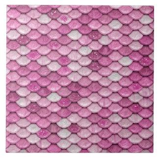 Iridescent Pink Glitter Shiny Mermaid Fish Scales Tile