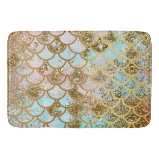 Iridescent Pink Gold Glitter Mermaid Fish Scales Bath Mat