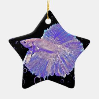 Iridescent Purple Fighting Fish Ceramic Ornament