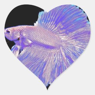 Iridescent Purple Fighting Fish Heart Sticker
