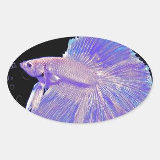 Iridescent Purple Fighting Fish Oval Sticker