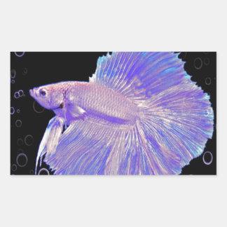 Iridescent Purple Fighting Fish Rectangular Sticker