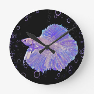 Iridescent Purple Fighting Fish Round Clock