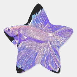 Iridescent Purple Fighting Fish Star Sticker