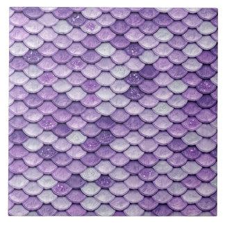 Iridescent Purple Shiny Glitter Mermaid Scales Ceramic Tile