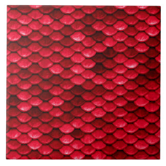Iridescent Red Shiny Glitter Mermaid Fish Scale Tile