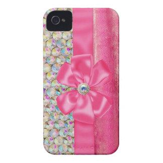 Iridescent Rhinestones Ribbon Bows Iphone Case iPhone 4 Case-Mate Cases
