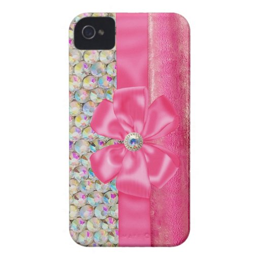 Iridescent Rhinestones Ribbon Bows Iphone Case iPhone 4 Case-Mate Cases