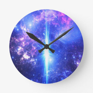 Iridescent Skies Round Clock