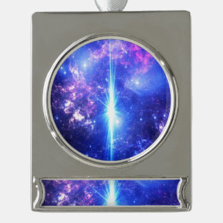 Iridescent Skies Silver Plated Banner Ornament
