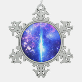 Iridescent Skies Snowflake Pewter Christmas Ornament