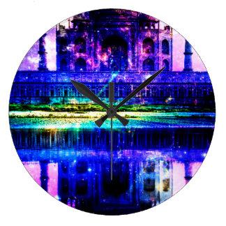 Iridescent Taj Mahal Dreams Large Clock