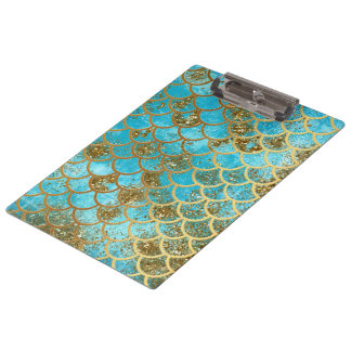 Iridescent Teal Gold Glitter  Mermaid Fish Scales Clipboard