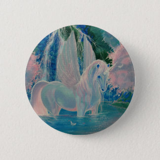 """Iridescent World"" Winged Unicorn Badge / Button"