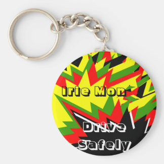Irie mon keycahins-drive safely basic round button key ring