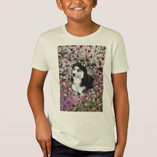 Irie Siberian Husky in Flowers, Black White Dog T-shirts