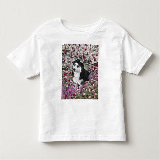 Irie Siberian Husky in Flowers, Black White Dog Tees