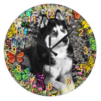 Irie the Siberian Husky in Butterflies II Large Clock