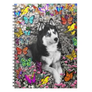 Irie the Siberian Husky in Butterflies Notebooks