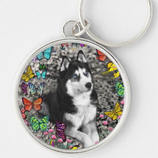 Irie the Siberian Husky in Butterflies Silver-Colored Round Key Ring