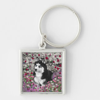 Irie the Siberian Husky in Flowers Silver-Colored Square Key Ring