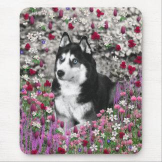 Irie the Siberian Husky in Flowers Mousepad