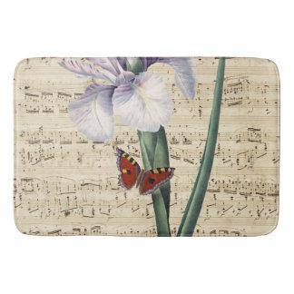 iris and butterfly music bath mat