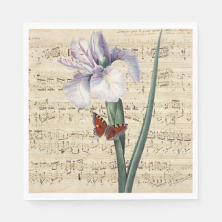 iris and butterfly music disposable napkins