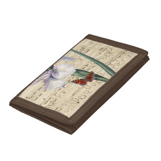 iris and butterfly music trifold wallet