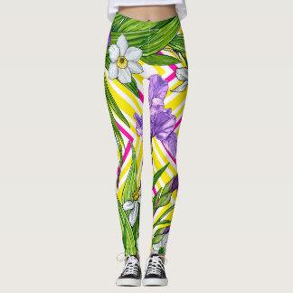 Iris and daffodils flowers pattern leggings