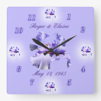 Iris Anniversary Clock- customise & personalise Square Wall Clock