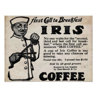 Iris Brand Vintage Coffee Print