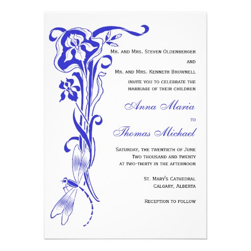 Iris & Dragonfly Royal Blue Wedding Invitation 13 Cm X 18