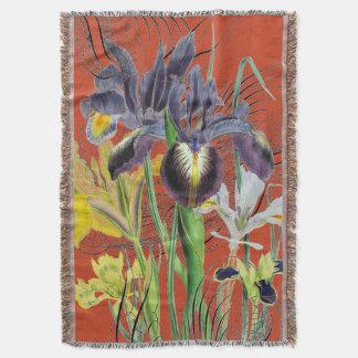 Iris Floral Fantasy Red 2.0 Throw Blanket