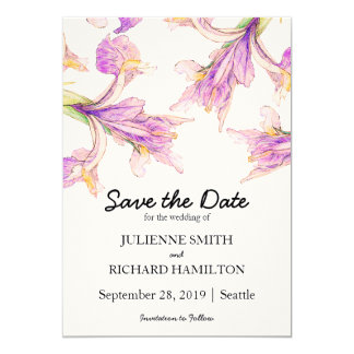 Iris Floral | Rustic Botanical Save the Date Card