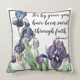 Iris Flowers Garden Scripture Bible Throw Pillow