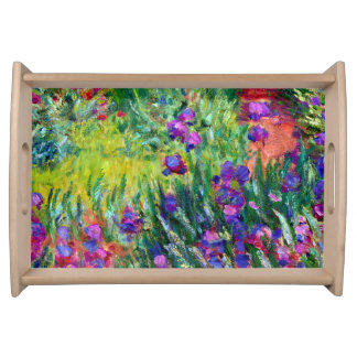 Iris Garden at Giverny Claude Monet Fine Art Serving Tray