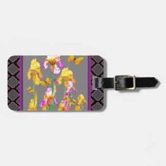 Iris garden Black-Grey lattice Pattern Art Bag Tag