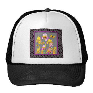 Iris garden Black-Grey lattice Pattern Art Cap
