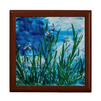 "Iris on the Water Edge 7.125"" Square w/6"" Tile Box"